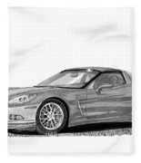 Corvette Roadster, Silver Ghost Fleece Blanket