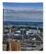 2015 View Of The Skyway And New Harbor  Fleece Blanket