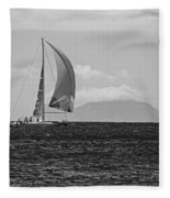 2017 Heineken Regatta Sailing Past Saba Saint Martin Sint Maarten Red Sail Black And White Fleece Blanket