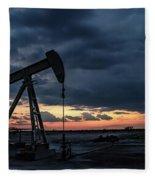 2017_08_midkiff Tx_sunset Pump Jack 4 Fleece Blanket
