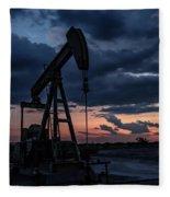 2017_08_midkiff Tx_sunset Pump Jack 7 Fleece Blanket