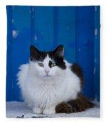Cat On A Greek Island Fleece Blanket