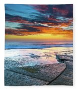 Sunrise Seascape And Rock Platform Fleece Blanket