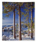 211257 Snow On Tree Sides Lake Tahoe Fleece Blanket