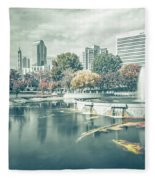 Charlotte North Carolina Cityscape During Autumn Season Fleece Blanket
