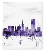 San Francisco City Skyline Fleece Blanket