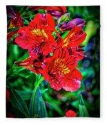 2647- Red Flowers Fleece Blanket