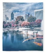 Charlotte North Carolina Cityscape During Autumn Season Fleece Blanket