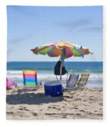 A Day At The Beach Fleece Blanket