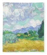 A Wheatfield With Cypresses Fleece Blanket