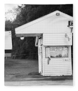 Auburn, Ny - Drive-in Theater Bw Fleece Blanket
