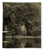 Autumn Lake Boathouse Fleece Blanket