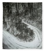 Bad Road Conditions While Driving In Winter Fleece Blanket