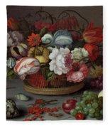 Basket Of Flowers Fleece Blanket
