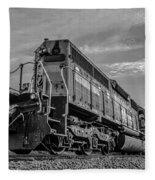 Blue Freight Train Engine At Sunrise  Fleece Blanket