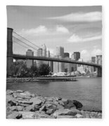 Brooklyn Bridge - New York City Skyline Fleece Blanket