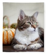 Cat And Pumpkins Fleece Blanket