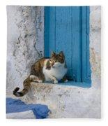 Cat In A Doorway, Greece Fleece Blanket