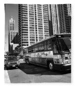 Chicago Bus And Buildings Fleece Blanket