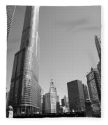Chicago River And Skyline Fleece Blanket