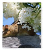 Chipmunk Chillin' On The Railin' Fleece Blanket
