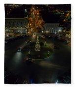 Christmas Lights, Looking West Fleece Blanket