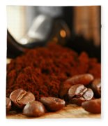 Coffee Beans And Ground Coffee Fleece Blanket