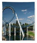 Cork-screw Rollercoaster And Ferris-wheel Fleece Blanket