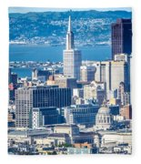 Downtown San Francisco City Street Scenes And Surroundings Fleece Blanket
