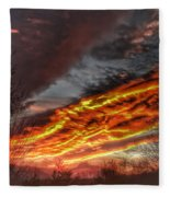 Dramatic Skies Great Smoky Mountains Nc At Sunset In Winter Fleece Blanket