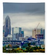 Dramatic Sky And Clouds Over Charlotte North Carolina Fleece Blanket
