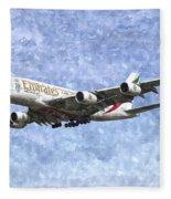 Emirates A380 Airbus Watercolour Fleece Blanket