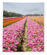 field of cultivated Buttercup  Fleece Blanket