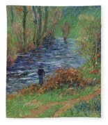 Fisher On The Bank Of The River Fleece Blanket