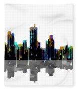 Fort Worth Texas  Skyline Fleece Blanket