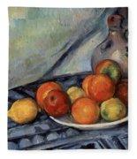 Fruit And A Jug On A Table Fleece Blanket