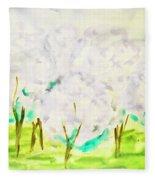 Hand Painted Picture, Spring Garden Fleece Blanket