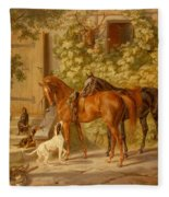 Horses At The Porch Fleece Blanket