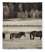 Horses Of The Fall  Bw Fleece Blanket