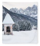 Idyllic Landscapes Immersed In The Snow. The Dream Of The Julian Alps And Valbruna Fleece Blanket