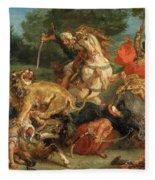 Lion Hunt Fleece Blanket