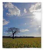 Lone Oak Tree In English Countryside Fleece Blanket