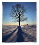 Lone Tree In Snow Fleece Blanket