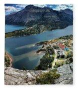 Looking Down On Waterton Lakes Fleece Blanket
