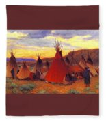 lrs Sharp Joseph Henry Evening Crow Reservation Joseph Henry Sharp Fleece Blanket