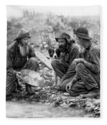 3 Men And A Dog Panning For Gold C. 1889 Fleece Blanket