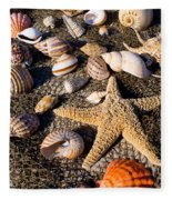 Mix Group Of Seashells Fleece Blanket