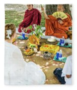 Monks Blessing Buddhist Wedding Ceremony In Cambodia Fleece Blanket
