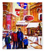 Montreal Street In Winter Fleece Blanket