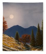 Mountain Moonrise Fleece Blanket